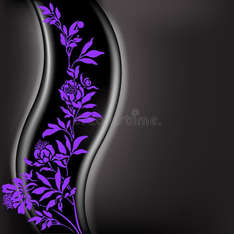 Fundo preto com filial do lilac ilustração royalty free