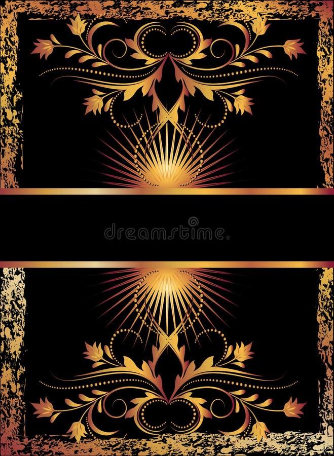 Fundo preto com ornamento de cobre ilustração royalty free