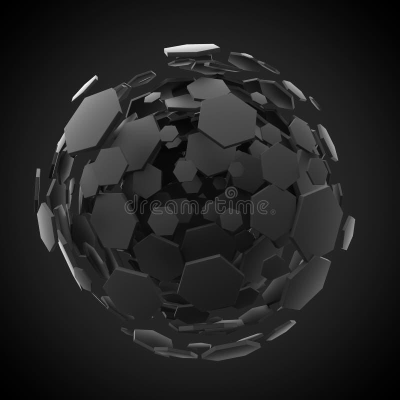 Fundo preto da explosão da esfera do hexágono ilustração stock