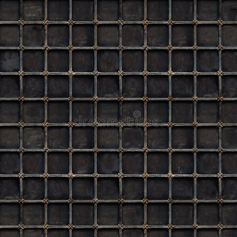 Fundo preto da grade do metal com pilhas quadradas imagem de stock