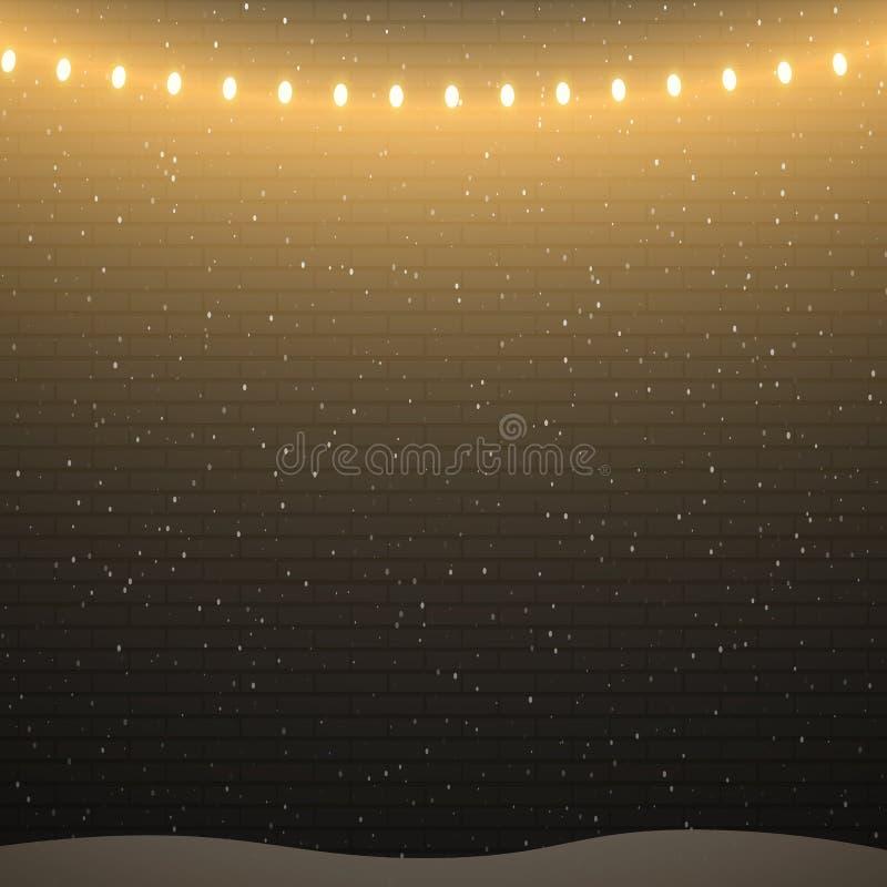Fundo preto da parede de tijolo com luzes e queda de neve de Natal ilustração royalty free