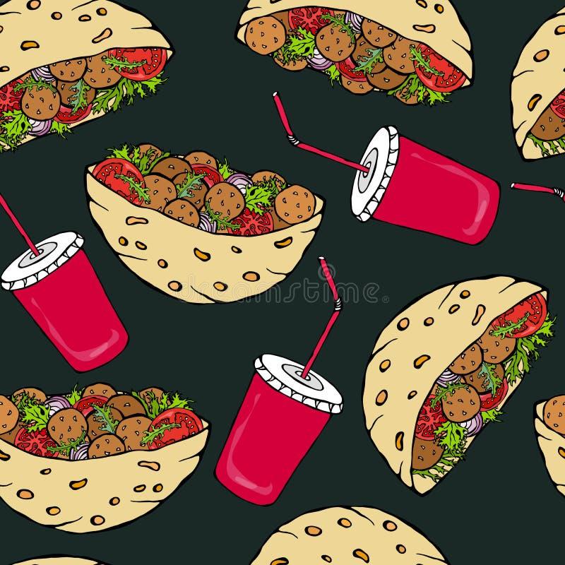 Fundo preto da placa Teste padrão infinito sem emenda com pão árabe do Falafel ou salada da almôndega no pão de bolso e no tampão ilustração do vetor