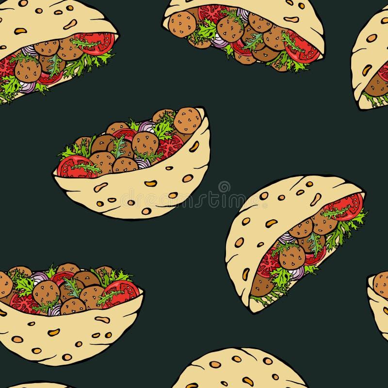 Fundo preto da placa Teste padrão infinito sem emenda com pão árabe do Falafel ou salada da almôndega no pão de bolso Israel árab ilustração royalty free