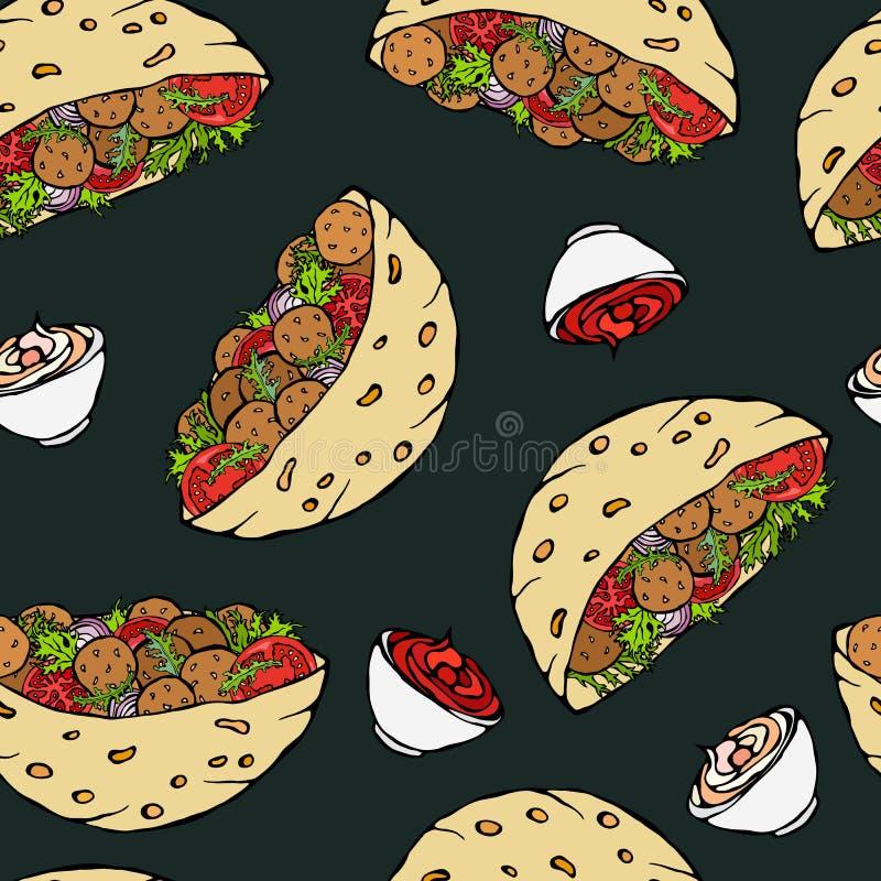 Fundo preto da placa Teste padrão infinito sem emenda com pão árabe do Falafel ou salada da almôndega no pão de bolso Israel árab ilustração do vetor