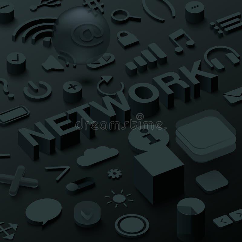 Fundo preto da rede 3d com símbolos da Web do ui ilustração do vetor