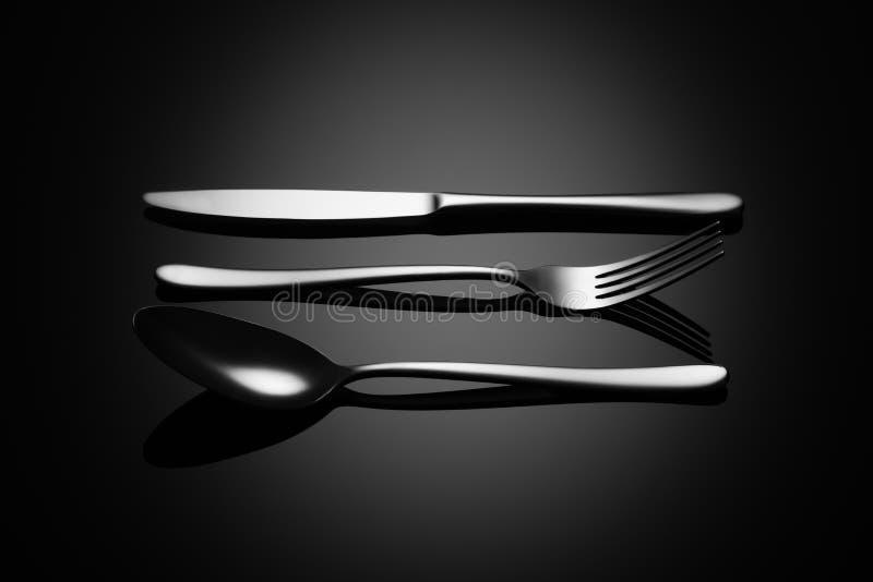 Fundo preto do alimento com faca, forquilha e colher ilustração royalty free