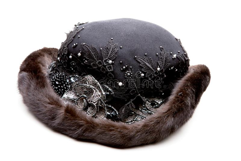 Fundo preto do branco do estúdio do chapéu das mulheres da pele imagem de stock royalty free