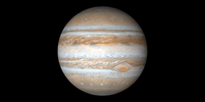 Fundo preto do gigante de gás do planeta do Júpiter ilustração stock