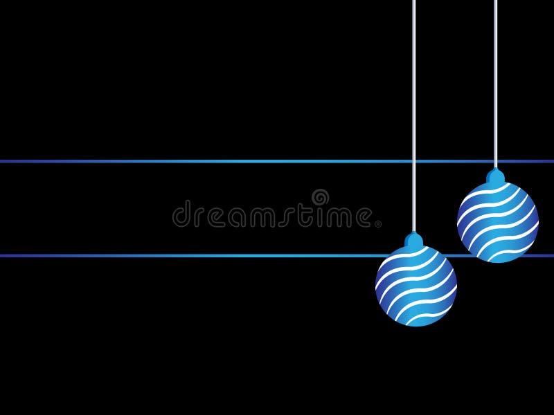Fundo preto do Natal Decoração brilhante da bola da fita azul com espaço vazio para seu texto ilustração stock
