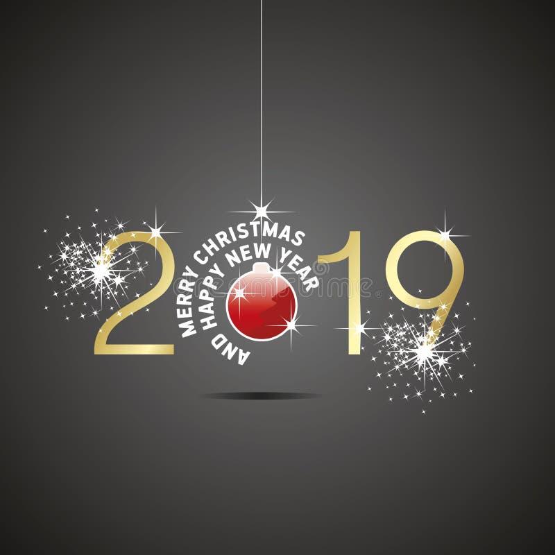 Fundo 2019 preto do ouro vermelho da bola do Natal do ano novo feliz ilustração do vetor