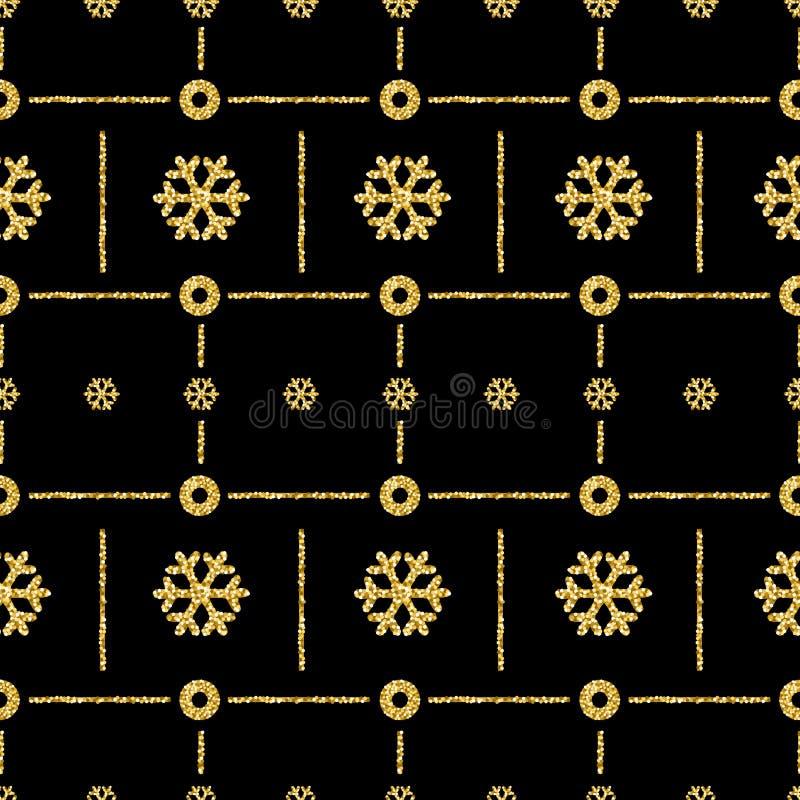 Fundo preto do teste padrão do Natal com snowfl de brilho dourado ilustração royalty free