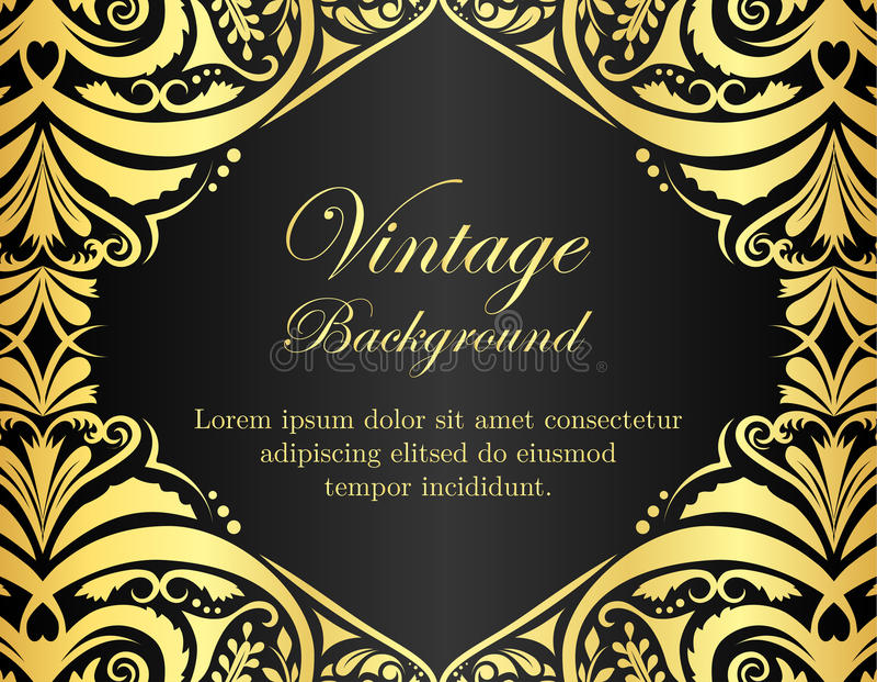 Fundo preto do vintage com quadro floral dourado ilustração do vetor