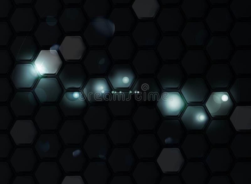 Fundo preto dos hexágonos ilustração do vetor