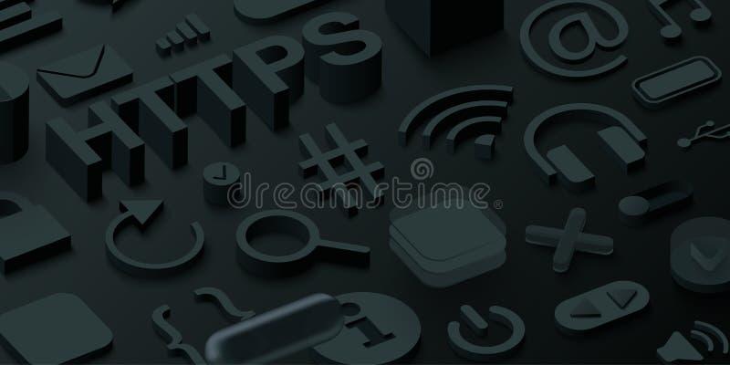 Fundo preto dos htpps 3d com símbolos da Web ilustração royalty free