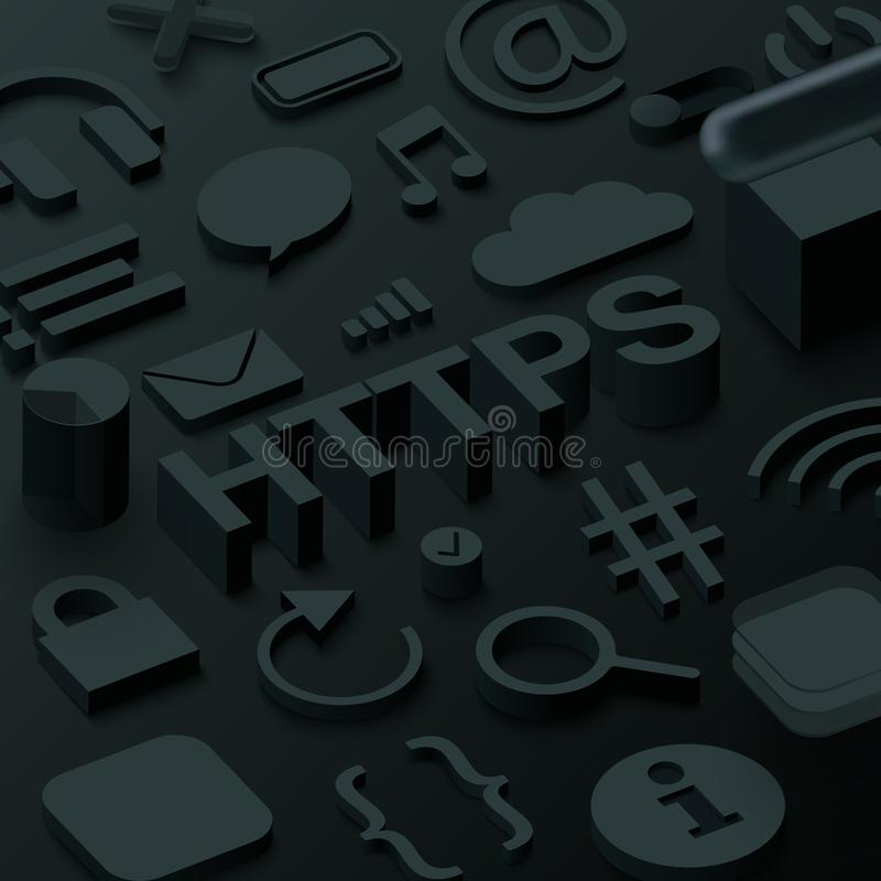 Fundo preto dos htpps 3d com símbolos da Web ilustração stock
