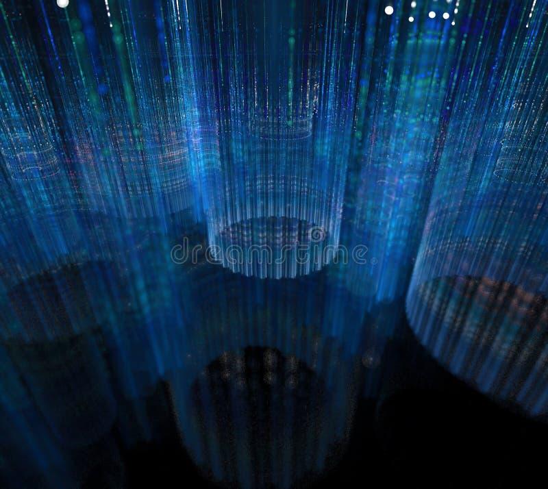 Fundo preto e azul Superfície com anéis listrados em 3d escuro ilustração do vetor