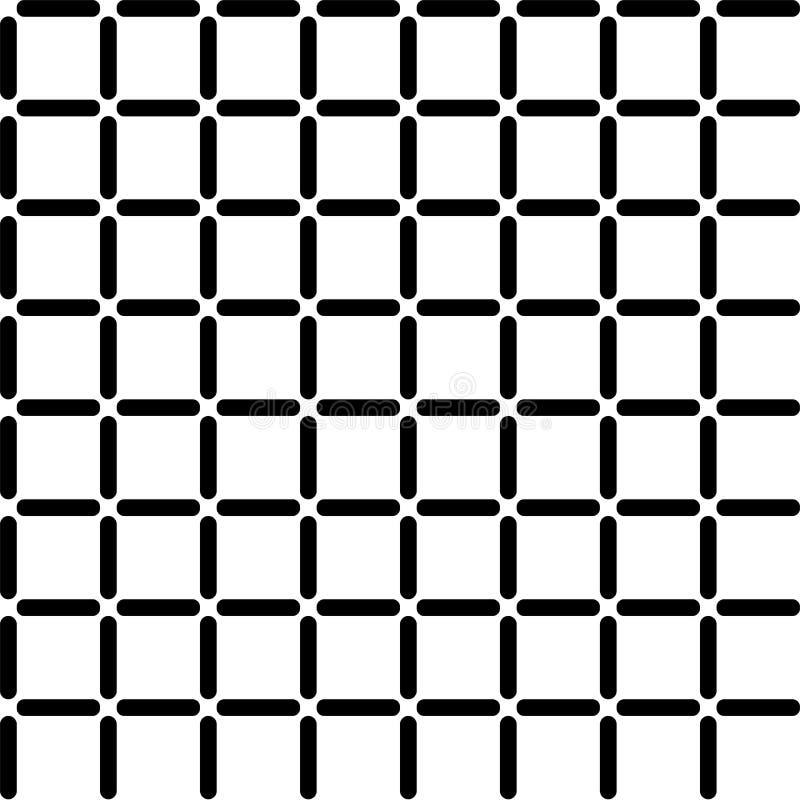 Fundo preto e branco abstrato com célula quadrada Padrão geométrico de abstração sem costura com linhas Ilustração vetorial ilustração do vetor