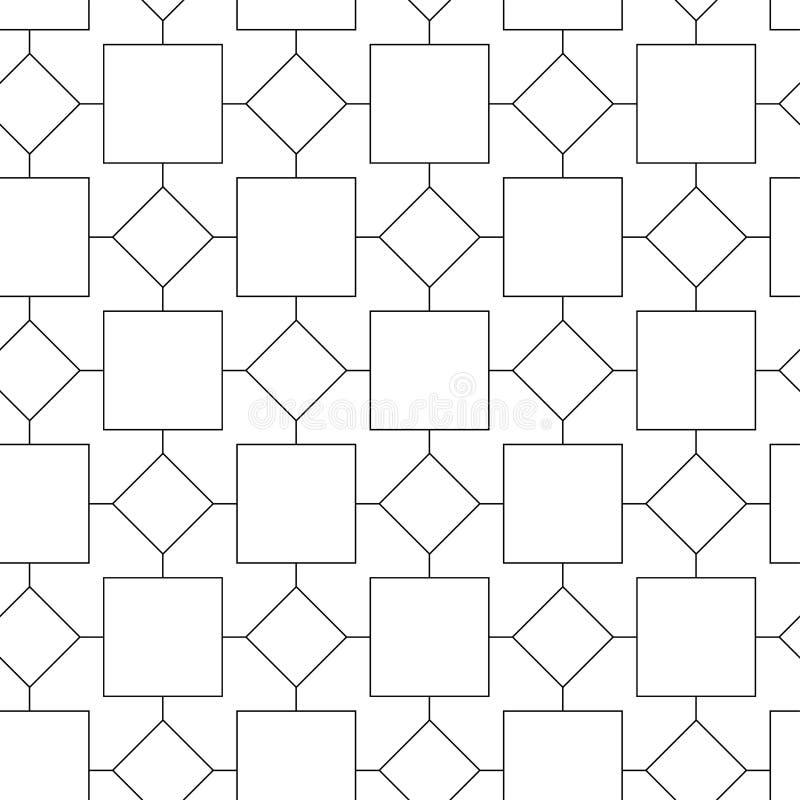 Fundo preto e branco abstrato com célula quadrada Padrão geométrico de abstração sem costura com linhas Ilustração vetorial ilustração royalty free