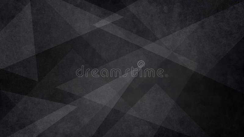 Fundo preto e branco abstrato com teste padrão geométrico aleatório do triângulo Escuro elegante - cor cinzenta com formas claras imagem de stock royalty free