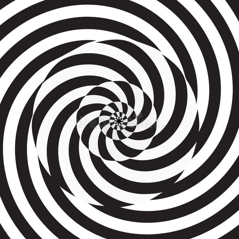 Fundo preto e branco da espiral circular ilustração do vetor
