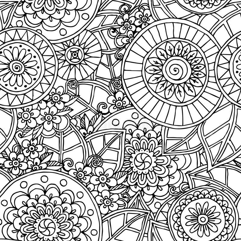 Fundo preto e branco da garatuja floral sem emenda ilustração do vetor