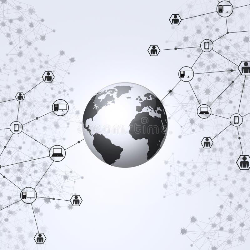 Fundo preto e branco da Web global ilustração stock