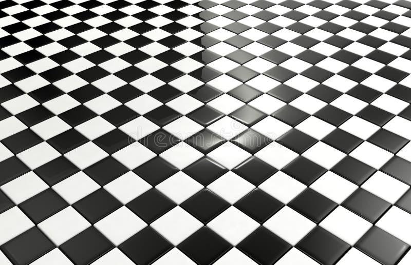 Fundo preto e branco das telhas ilustração do vetor