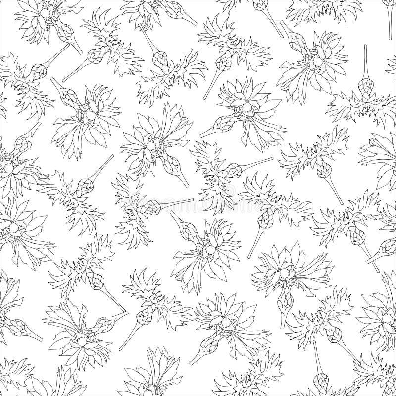 Fundo preto e branco de cores do contorno Ornamento floral dos vaselkas pintados com tinta para a telha, a decoração do cartão e ilustração royalty free