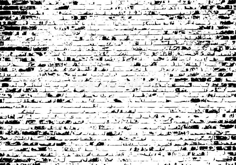 Fundo preto e branco do traço do vetor da parede de tijolo do Grunge ilustração do vetor