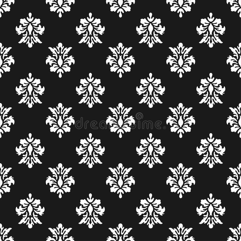 Fundo preto e branco do vetor Teste padrão sem emenda da rainha bonita com elementos do ornamento da flor de lis Real assina dent ilustração do vetor