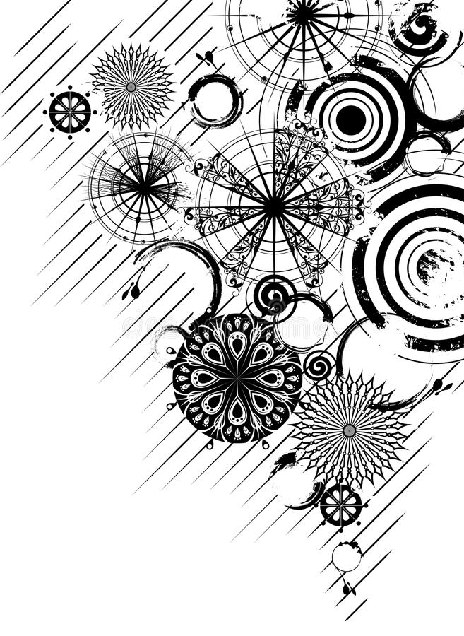 Fundo preto e branco dos círculos ilustração stock