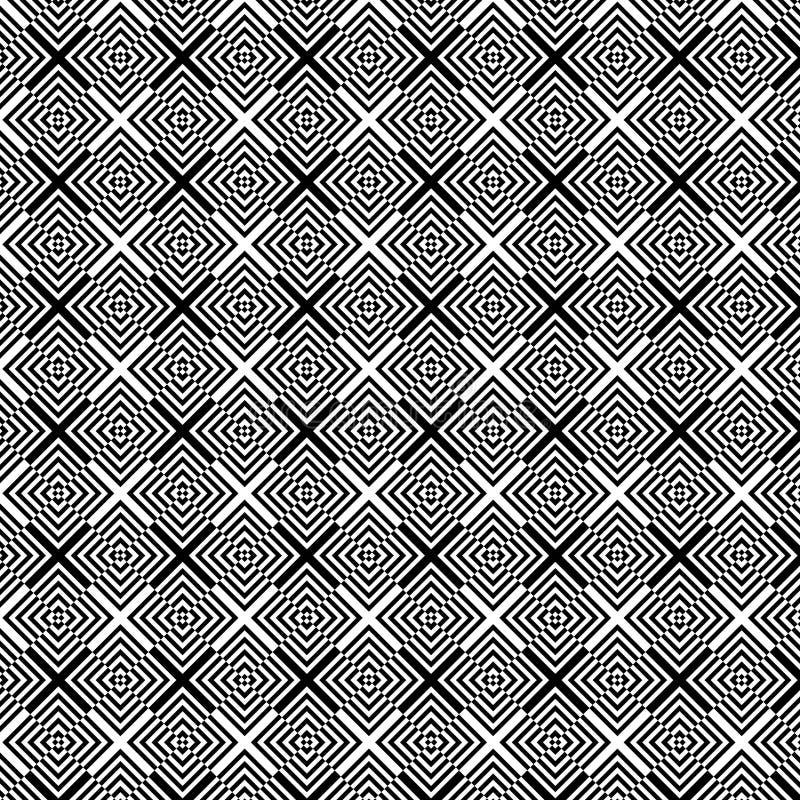 Fundo preto e branco geométrico abstrato do teste padrão da arte op ilustração royalty free