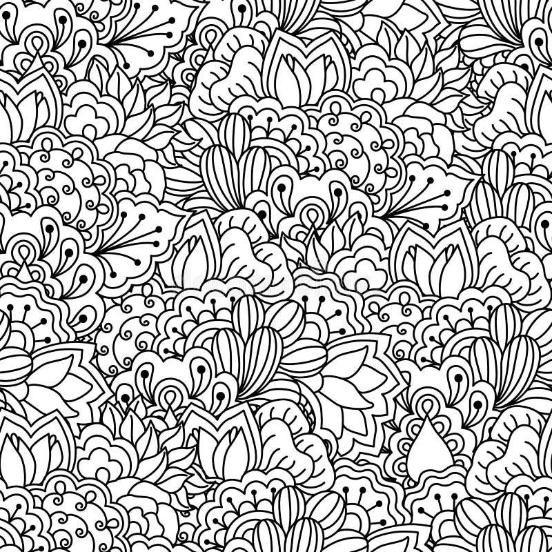 Fundo preto e branco sem emenda Floral, étnico, elementos tirados mão para o projeto ilustração stock