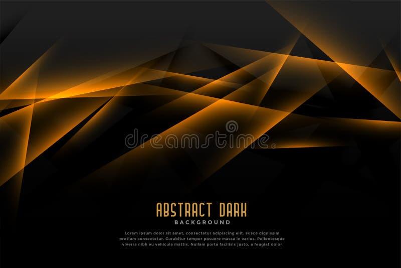 Fundo preto e dourado abstrato com linha clara efeito ilustração do vetor