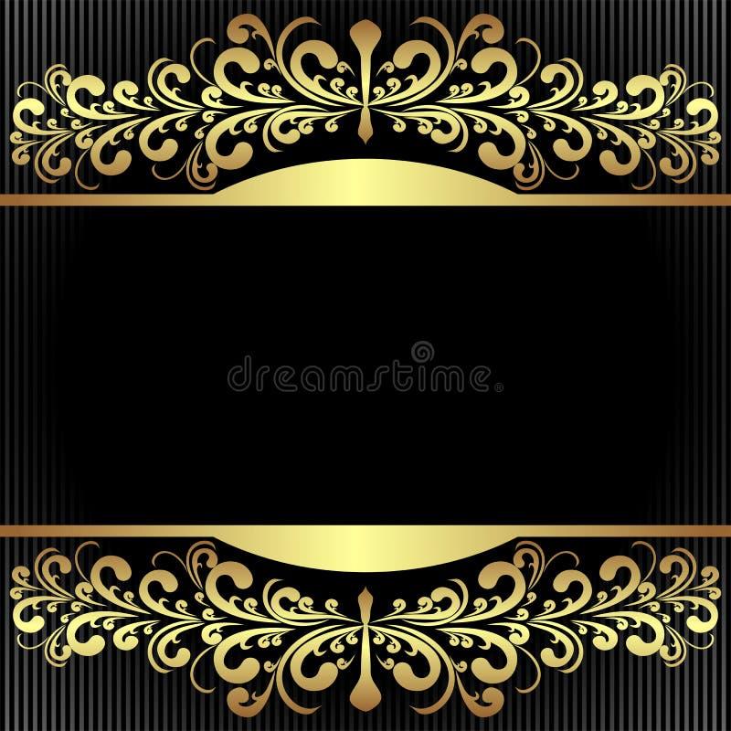 Fundo preto elegante com beiras douradas reais. ilustração royalty free