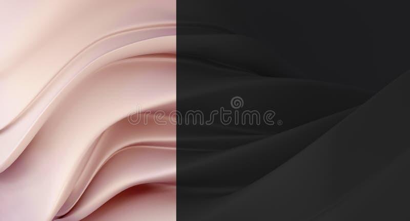 Fundo preto elegante, luxuoso com segmento do rosa da pérola Fundo caro para o cartão Fundo para cosméticos ou jewe ilustração royalty free