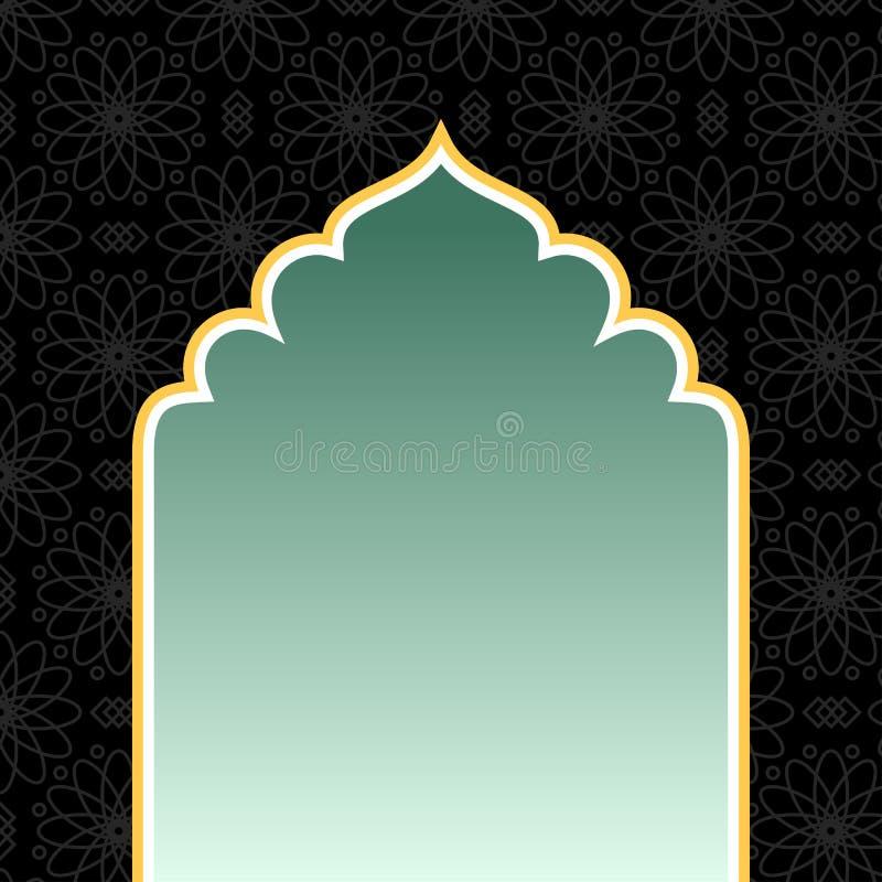 Fundo preto islâmico com arco dourado ilustração stock