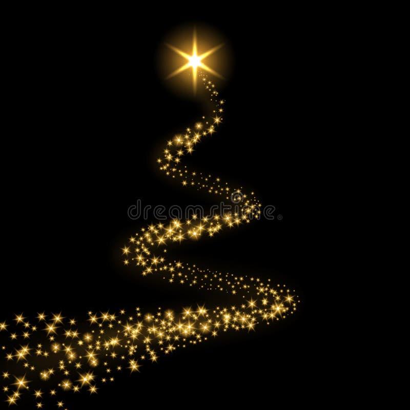 Fundo preto isolado fuga da estrela Cometa claro mágico do ouro, sparkles de brilho dourados Tiro do brilho da cintila??o ilustração stock