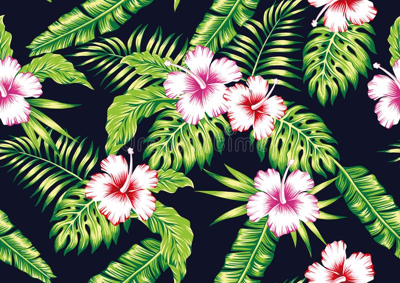 Fundo preto sem emenda das flores das plantas tropicais e do hibiscus ilustração royalty free