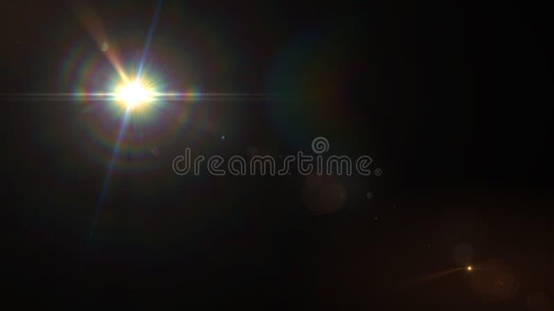 Fundo preto solar do efeito especial da luz do alargamento da lente ilustração royalty free
