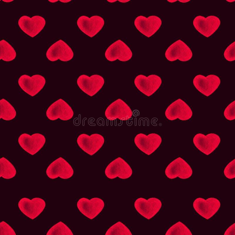 Fundo preto Teste padrão sem emenda simples com corações vermelhos ilustração stock