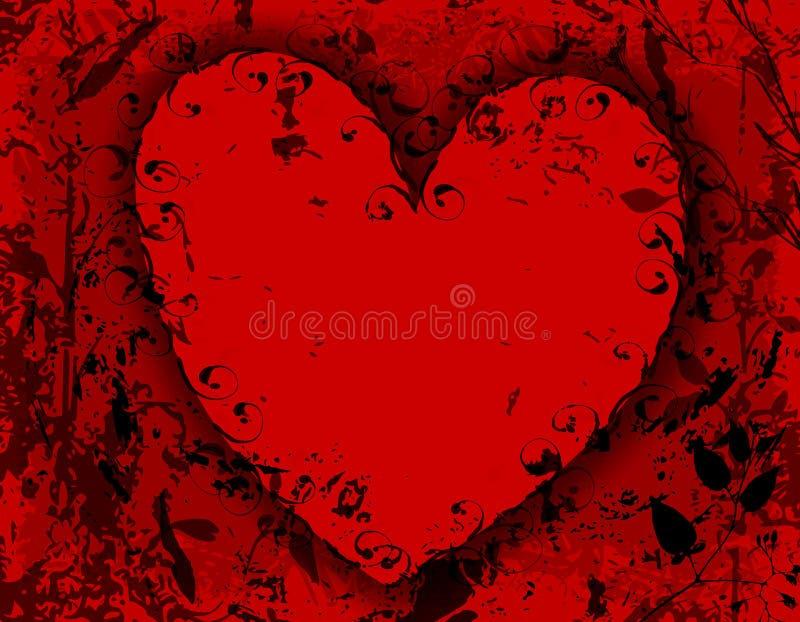 Fundo preto vermelho do coração de Grunge ilustração do vetor