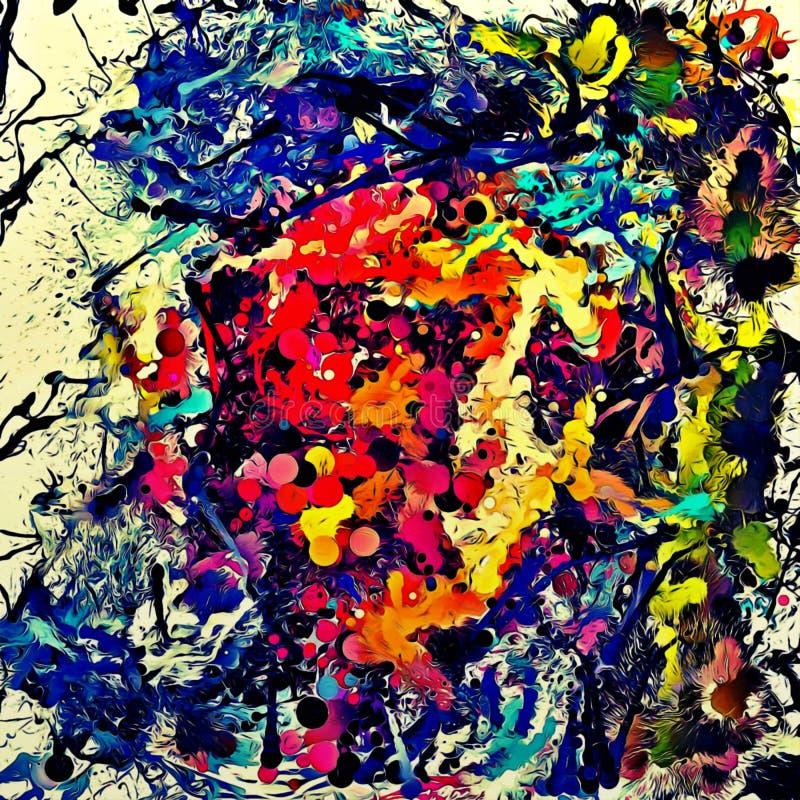 Fundo psicadélico abstrato dos cursos caóticos da escova da cor de tamanhos diferentes da escova ilustração do vetor
