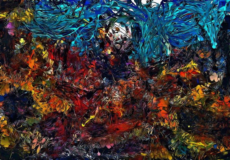 Fundo psicadélico abstrato dos cursos caóticos da escova da cor de tamanhos diferentes da escova ilustração stock