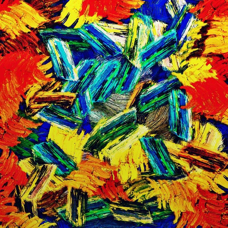 Fundo psicadélico abstrato dos cursos caóticos da escova da cor de tamanhos diferentes da escova ilustração royalty free