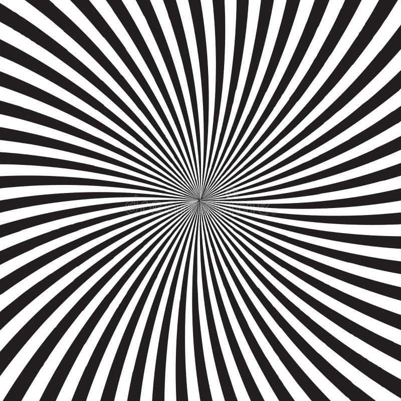 Fundo psicadélico com os raios, as linhas ou as listras monocromáticas convirgindo no centro Contexto com ilusão ótica ou ilustração stock