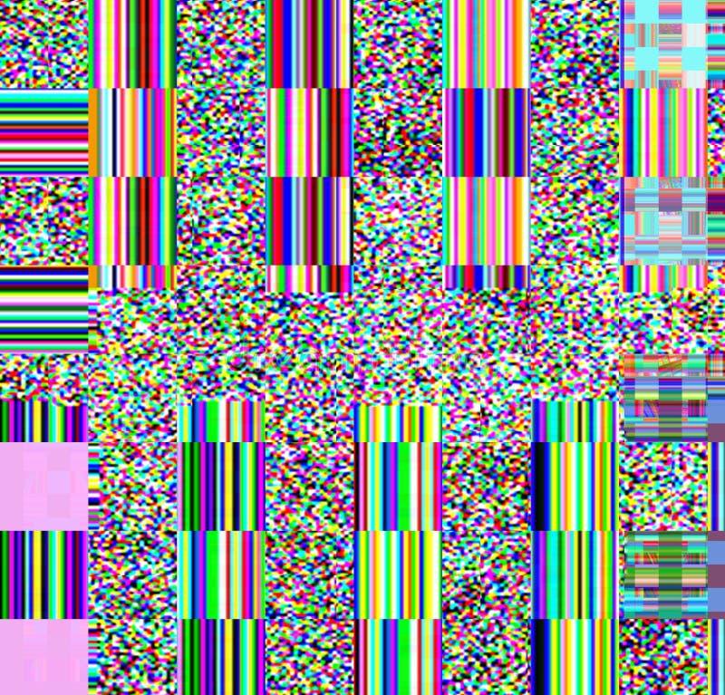 Fundo psicadélico do pulso aleatório Erro velho da tela da tevê Projeto do sumário do ruído do pixel de Digitas Pulso aleatório d imagem de stock royalty free