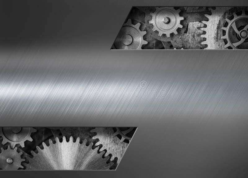 Fundo punk do metal do vapor com ilustração das engrenagens e das rodas denteadas 3d fotos de stock