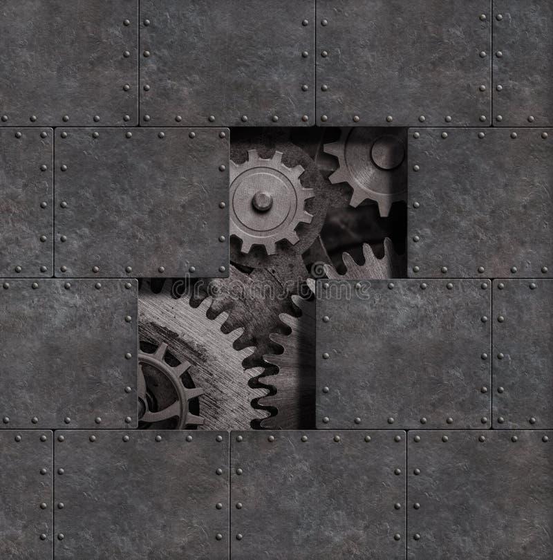 Fundo punk do metal do vapor oxidado com ilustração das engrenagens e das rodas denteadas 3d fotografia de stock