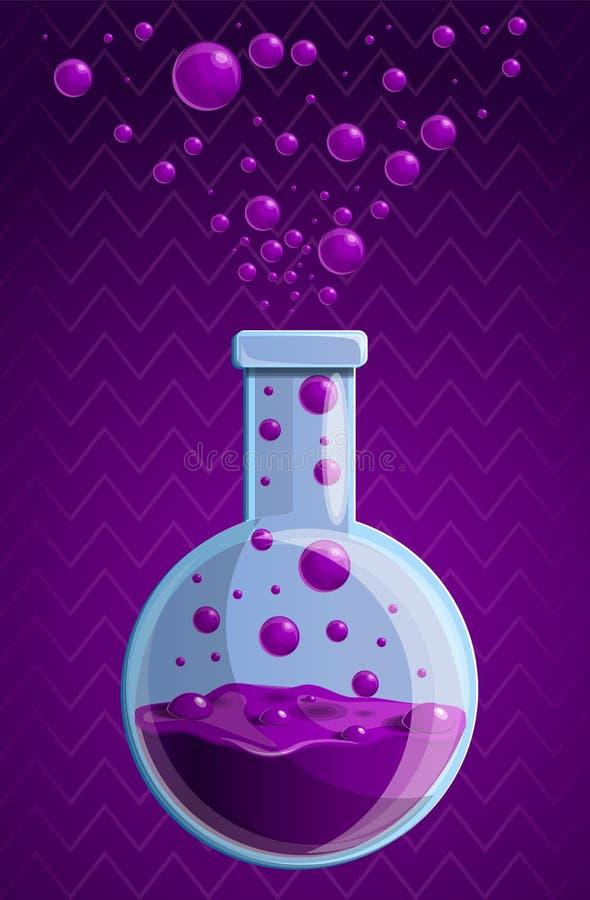 Fundo químico roxo do conceito da garrafa, estilo dos desenhos animados ilustração stock